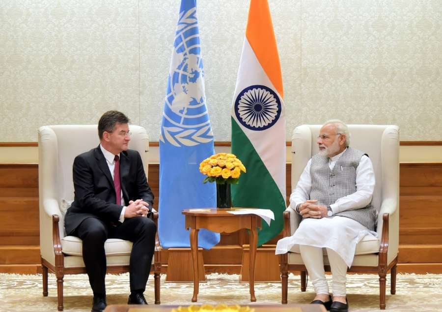 New Delhi: UNGA President elect Miroslav Lajcak calls on Prime Minister Narendra Modi in New Delhi on Aug 28, 2017. (Photo: IANS/PIB) by .