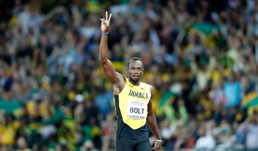 LONDON, Aug. 5, 2017 (Xinhua) -- Usain Bolt of Jamaica reacts ahead of Men's 100m Heats of the 2017 IAAF World Championships at London Stadium in London, Britain, on Aug. 4, 2017. (Xinhua/Wang Lili/IANS) by .