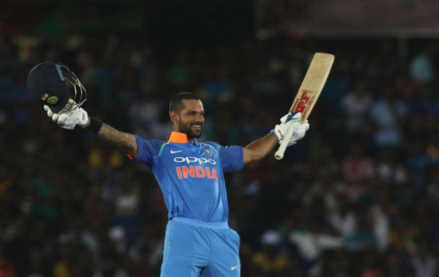 Dambulla: Shikhar Dhawan of India celebrates his century during the first ODI International cricket match between India and Sri Lanka at Rangiri Dambulla International Stadium in Dambulla, Sri Lanka on Aug 20, 2017. (Photo: Surjeet Yadav/IANS) by .