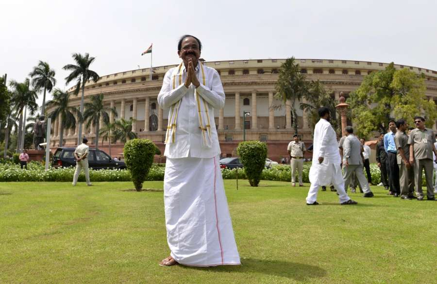 New Delhi: M Venkaiah Naidu at Parliament after taking oath as Vice President in New Delhi on Aug 11, 2017. (Photo: IANS) by .