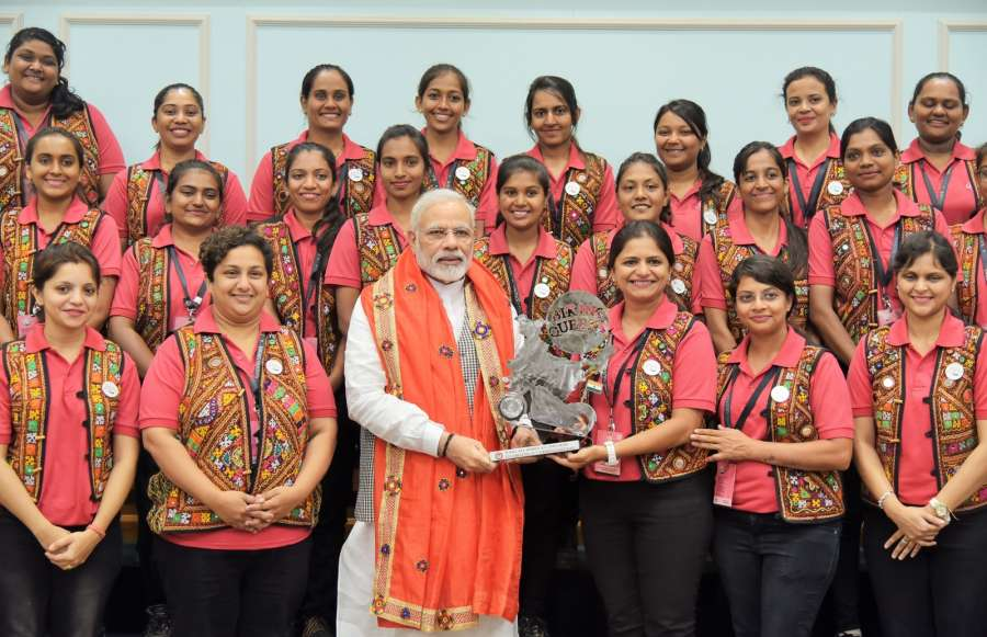 New Delhi: A group of women motorbike riders from Gujarat - the Biking Queens calls on Prime Minister Narendra Modi in New Delhi on Aug 28, 2017. (Photo: IANS/PIB) by .
