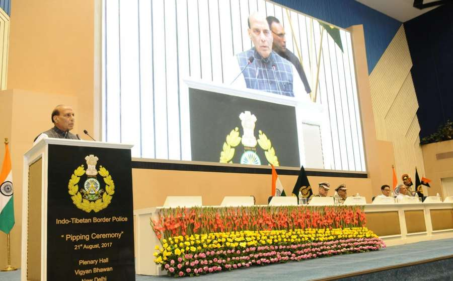 New Delhi: Home Minister Rajnath Singh addresses at the Pipping ceremony on promotion of officers and personnel of Indo Tibetan Border Police (ITBP) in New Delhi on Aug 21, 2017. (Photo: IANS/PIB) by .