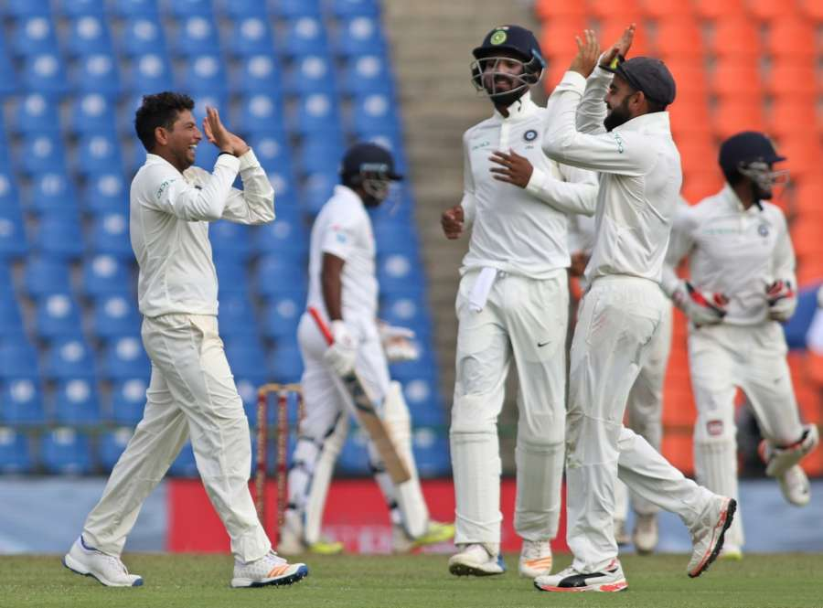 Pallekele: India's Kuldeep Yadav celebrates fall of Dilruwan Perera's wicket on Day 2 of the third test match between India and Sri Lanka at Pallekele International Cricket Stadium in Pallekele, Sri Lanka on Aug 13, 2017. (Photo: Surjeet Yadav/IANS) by .