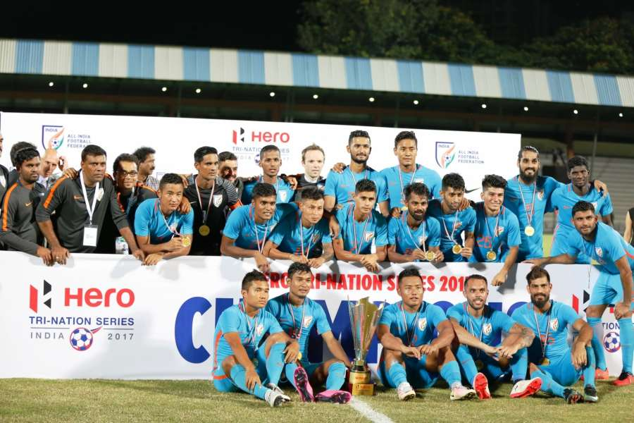 Mumbai: Indian football team with the Hero Tri-Nation Football Series 2017 cup as their match with St. Kitts & Nevis being held to a 1-1 draw at the Mumbai Football Arena in Mumbai on AUg. 24, 2017. (Photo: IANS) by .