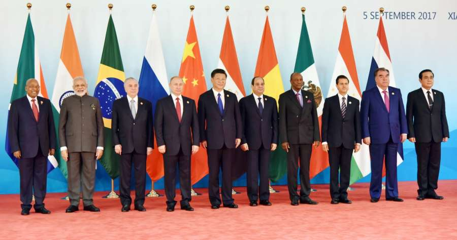 Xiamen: Prime Minister Narendra Modi along with Brazilian President Michel Temer, Russian President Vladimir Putin, Chinese President Xi Jinping​, ​South African President Jacob Zuma​, Mexican President Enrique Pena Nieto, Egyptian President Abdel Fattah al-Sisi, Thai Prime Minister Prayut Chan-o-cha and Tajikistan's President Emomali Rahmon​ at the Dialogue of Emerging Markets and Developing Countries, during the 9th BRICS Summit in Xiamen, China on Sept 5, 2017. (Photo: IANS/PIB) by .