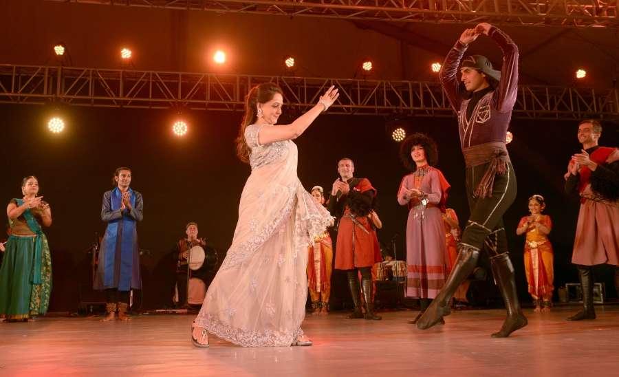 "Kolkata: Actress Hema Malini during ""Synergy"" - an Indo-Georgian dance fest in Kolkata on Sept 15, 2017. (Photo: IANS) by ."
