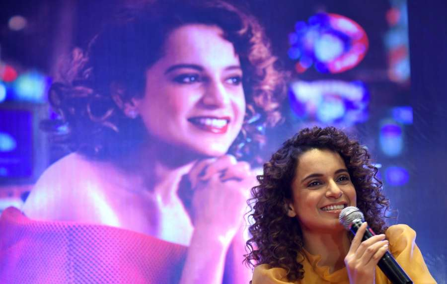 """Bengaluru: Actress Kangana Ranaut addresses during a press conference to promote her upcoming film """"Simran"""" in Bengaluru on Sept 12, 2017. (Photo: IANS) by ."""