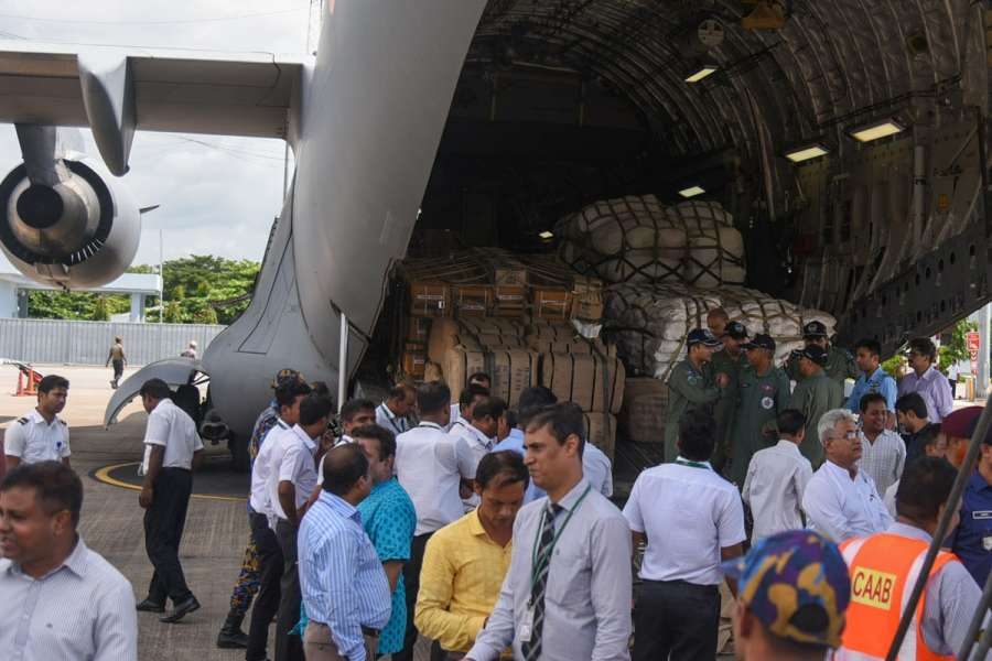 Chittagong: A C-17 Globemaster aircraft of the Indian Air Force delivered around 55 tonnes of relief material for Rohingya Muslim refugees, in Chittagong, Bangladesh on Sept 14, 2017. The relief material will be delivered in multiple consignments under 'Operation Insaniyat' of the Indian government. (Photo: bdnews24/IANS) by .