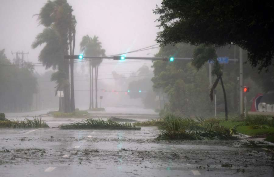MIAMI, Sept. 10, 2017 (Xinhua) -- Trees and branches are seen on a street after being torn down by strong winds as hurricane Irma arrives, in Miami, Florida, the United States, on Sept. 10, 2017. Category Four Hurricane Irma on Sunday morning made landfall in the Florida Keys with gust wind speed of 171 km/h, according to the National Hurricane Center (NHC). (Xinhua/Yin Bogu/IANS) by .