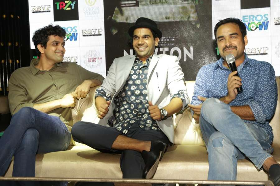 New Delhi: Actor Rajkummar Rao, Pankaj Tripathi and screenwriter Amit Masurkar during a press conference to promote their upcoming film