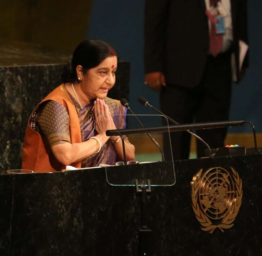 New York: External Affairs Minister Sushma Swaraj greets while speaking at the United Nations General Assembly (UNGA) in New York on Sept. 23, 2017. (Photo: IANS) by .
