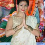 Mumbai: Actress Tanishaa Mukerji at North Bombay Sarbojanin Durga Puja Samiti's Maha Navami Puja during Durga Puja celebrations in Mumbai on Sept 29, 2017. (Photo: IANS) by .