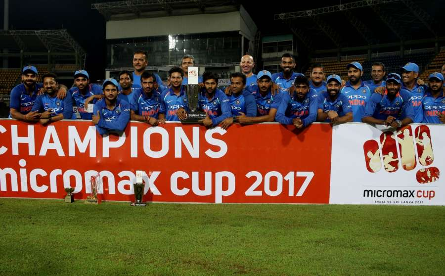 Colombo: Indian cricketers with the trophy after winning the ODI match series against Sri Lanka at R.Premadasa Stadium in Colombo, Sri Lanka on Sept 3, 2017. (Photo: Surjeet Yadav/IANS) by .
