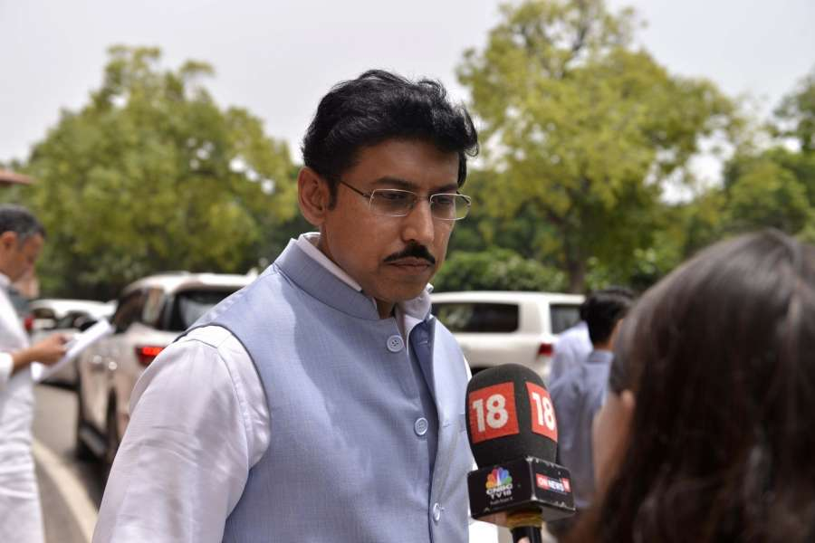 New Delhi: Union MoS Information and Broadcasting Rajyavardhan Singh Rathore at Parliament on Aug 4, 2017. (Photo: IANS) by .