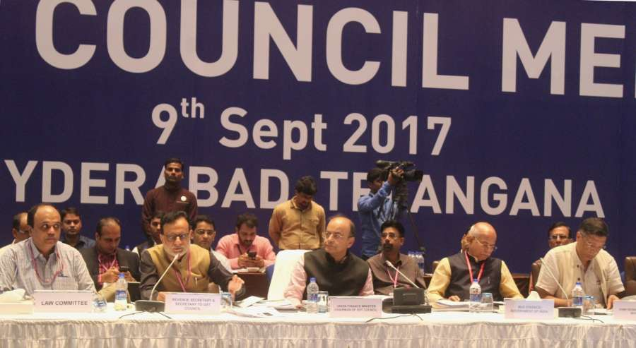 Hyderabad: Union Finance Minister Arun Jaitley at the 21st GST Council meeting in Hyderabad on Sept 9, 2017. Also seen Union MoS Finance Shiv Pratap Shukla, Revenue Secretary Hasmukh Adhia and Chief Economic Adviser Arvind Subramanian. (Photo: IANS/PIB) by .