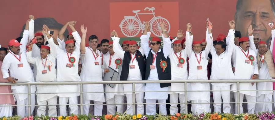 Lucknow: Samajwadi Party (SP) President Akhilesh Yadav along with other party leaders during the 8th state convention of the SP in Lucknow on Sept 23, 2017. (Photo: IANS) by .