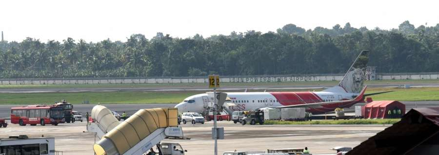 Kochi: A view of the Air India flight IX452 after it met an accident while landing at the terminal 3 of the Cochin International Airport in Kochi on Sept 5, 2017. (Photo: IANS) by .