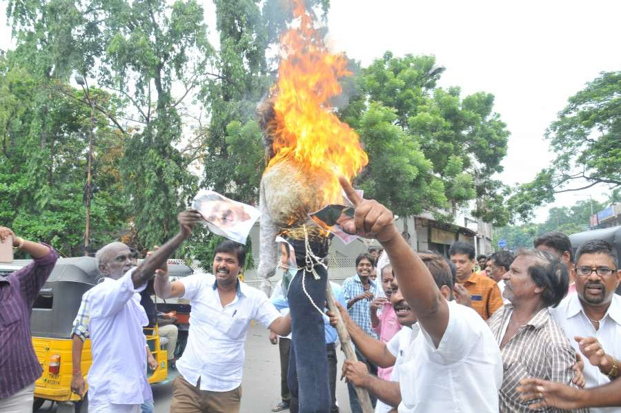 Chennai: AIADMK supporters stage a demonstration against VK Sasikala and TTV Dhinakaran in Chennai on Aug 28, 2017. (Photo: IANS) by .