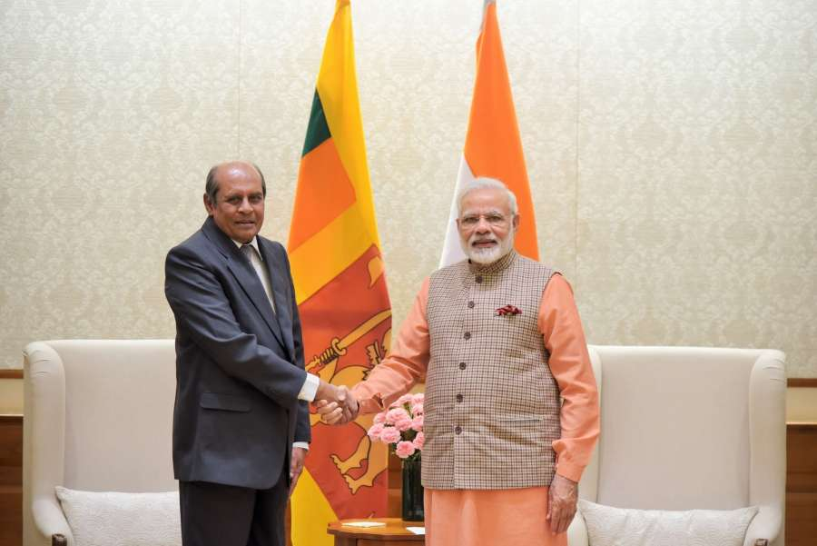 New Delhi: Sri Lankan Foreign Minister Tilak Marapana calls on Prime Minister Narendra Modi in New Delhi on Sept 9, 2017. (Photo: IANS/PIB) by .