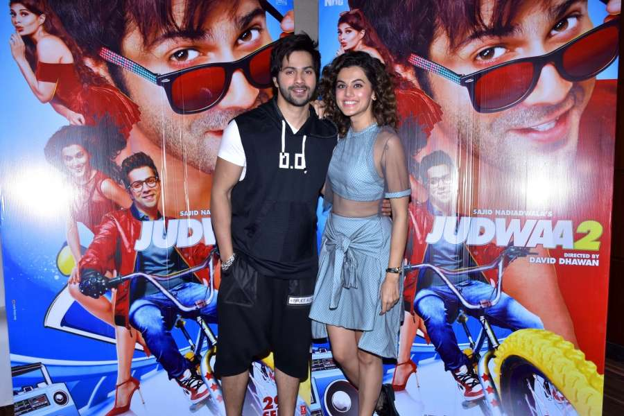 "Jaipur: Actors Varun Dhawan and Taapsee Pannu during a press conference to promote their upcoming film ""Judwaa 2"" in Jaipur on Sept 7, 2017. (Photo: Ravi Shankar Vyas/IANS) by ."