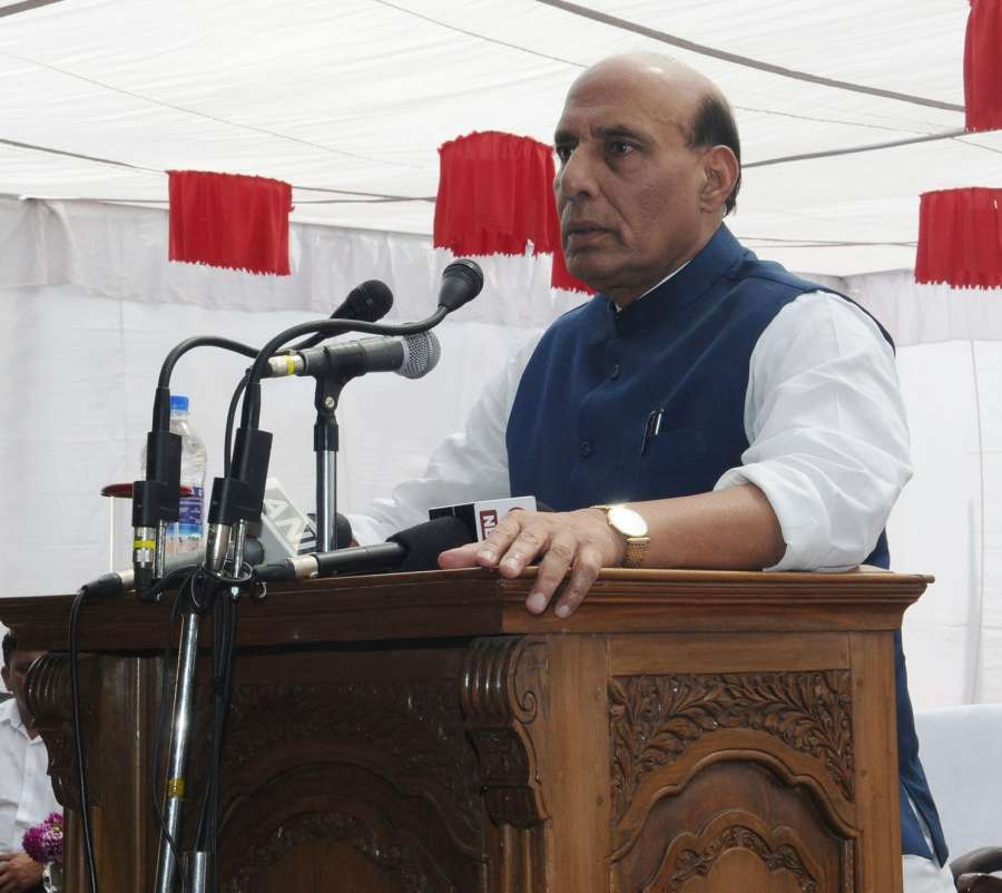Anantnag: Union Home Minister Rajnath Singh addresses Police personnel during his visit to the Jammu and Kashmir Police Lines in Anantnag district of Jammu and Kashmir on Sept 10, 2017. (Photo: IANS/PIB) by .