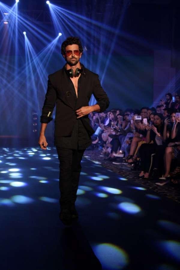 "Mumbai: Actor Hrithik Roshan walk the ramp for designer Nikhil Thampi at ""Tech Fashion Tour"" season 3 in Mumbai on Sept 20, 2017. (Photo: IANS) by ."