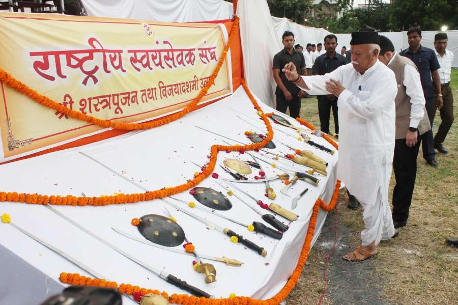 Nagpur: RSS chief Mohan Bhagwat during Vijayadashami utsav and Shashtrapoojan at Joggers MNC ground in Nagpur on Sept 24, 2017. (Photo: IANS) by .