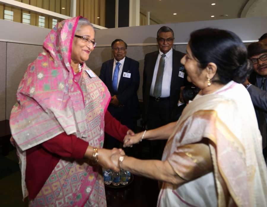 New York: External Affairs Minister Sushma Swaraj meets Bangladesh Prime Minister Sheikh Hasina on the sidelines of the annual UN General Assembly (UNGA) session at the United Nations headquarters in New York on Sept. 18, 2017. (Photo: Mohammed Jaffer/IANS) by .