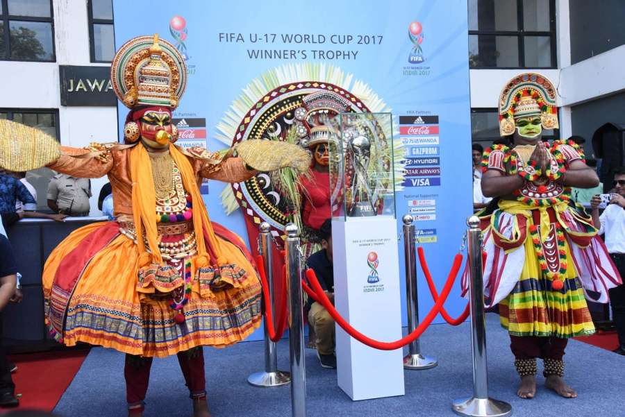 Kochi: Artistes perform during the unveiling ceremony of the FIFA U-17 World Cup Trophy at Jawaharlal Nehru International Stadium in Kochi on Sept 22, 2017. (Photo: IANS/PIB) by .