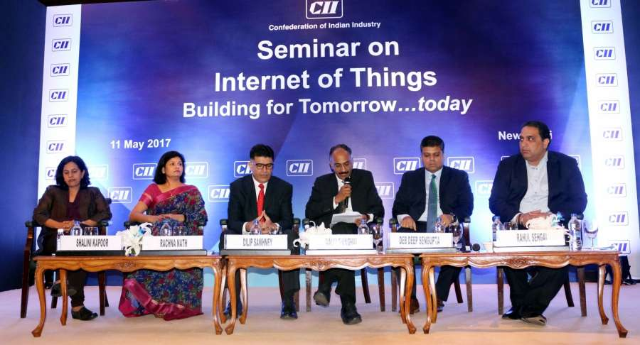 """New Delhi: A seminar on """"Internet of Things building for Tomorrow...today"""" organised by CII underway in New Delhi on May 11, 2017. (Photo: IANS) by ."""