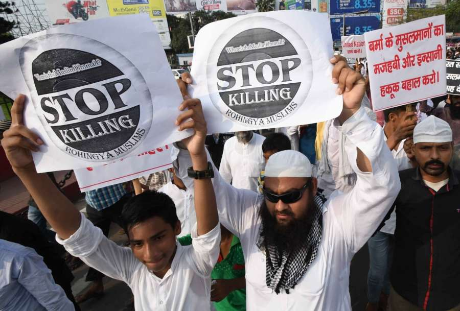Patna: Muslims participate in a rally to condemn the killings of Rohingya Muslims in Myanmar; in Patna on Sept 15, 2017. (Photo: IANS) by .