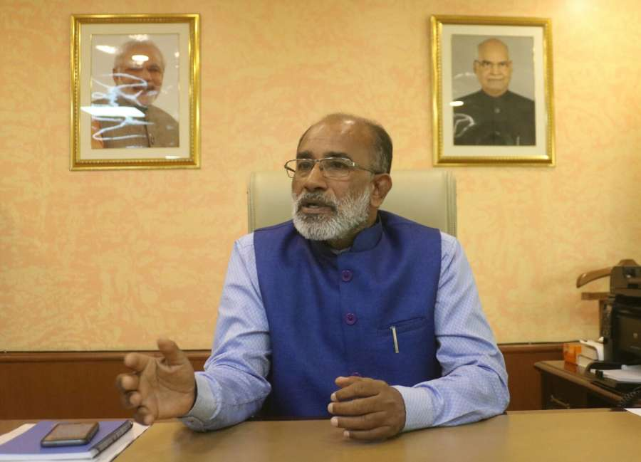 New Delhi: Union MoS Tourism (I/C) Alphons Kannanthanam during an interview with IANS in New Delhi on Sept 18, 2017. (Photo: IANS/Bidesh Manna) by .