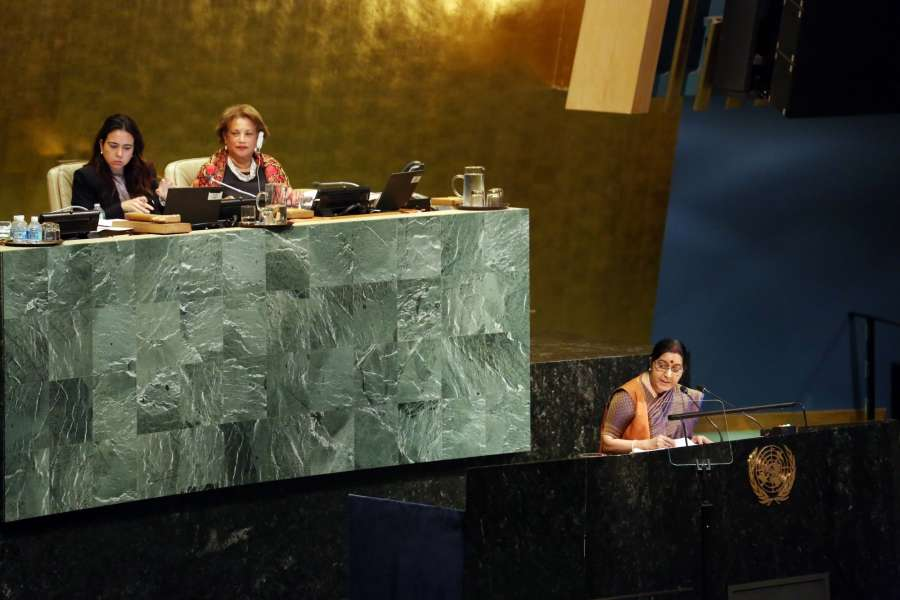 New York: External Affairs Minister Sushma Swaraj speaking at United Nations General Assembly in New York on Sept. 23, 2017. (Photo: Mohammed Jaffer/IANS) by .