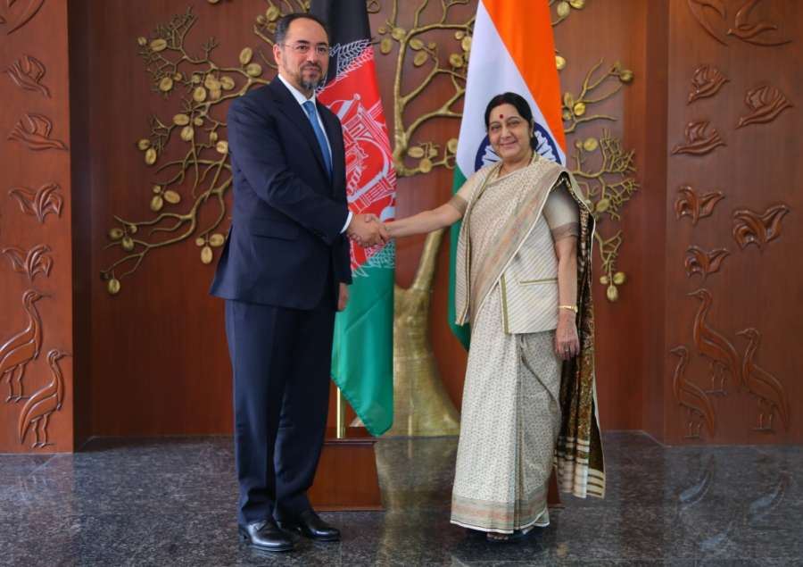 New Delhi: Afghanistan Foreign Minister Salahuddin Rabbani calls on External Affairs Minister Sushma Swaraj in New Delhi on Sept 11, 2017. (Photo: IANS/MEA) by .