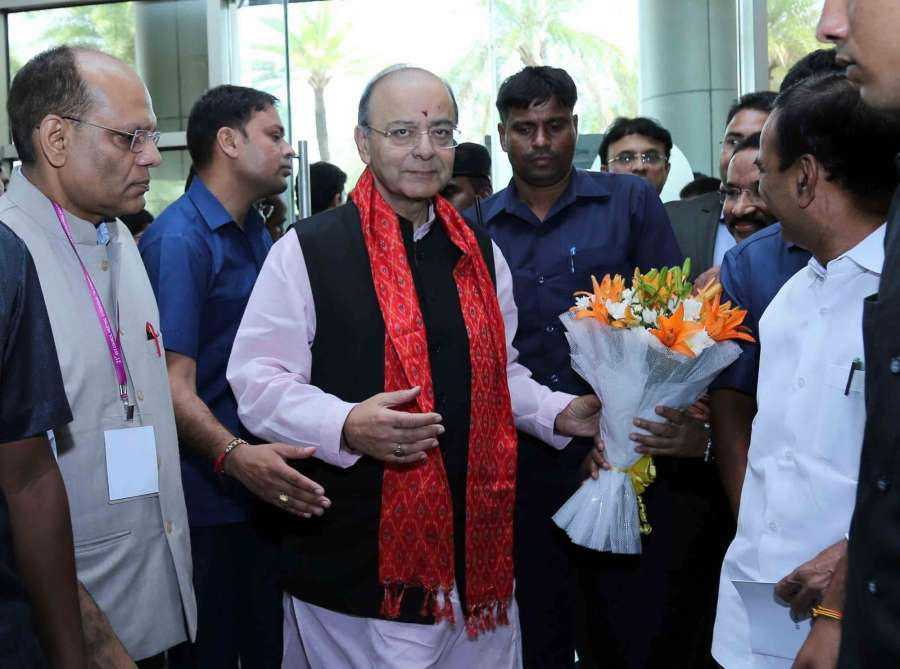 Hyderabad: Union Finance Minister Arun Jaitley being welcomed on his arrival to attend the 21st GST Council meeting in Hyderabad on Sept 9, 2017. (Photo: IANS) by .