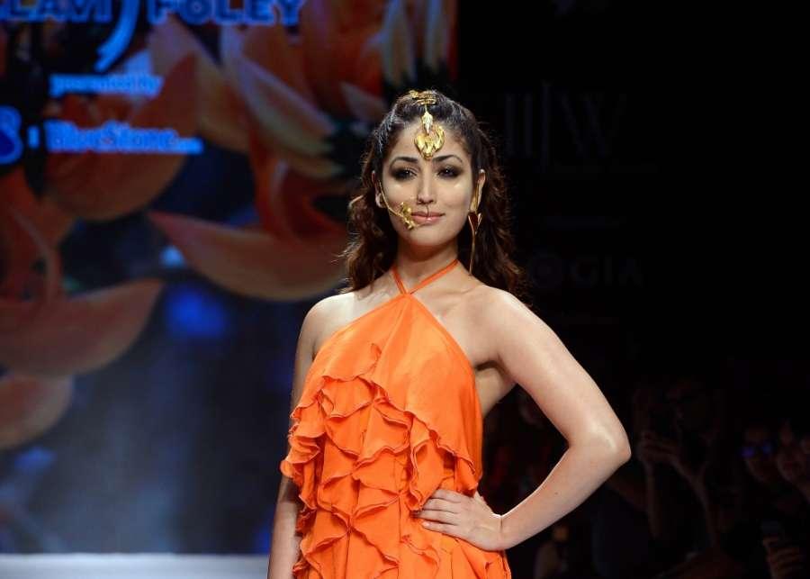 "Mumbai:Actress Yami Gautam walk the ramp for ""The Indias International Jewellery Week 2017"" in Mumbai on Sept 24, 2017.(Photo: IANS) by ."