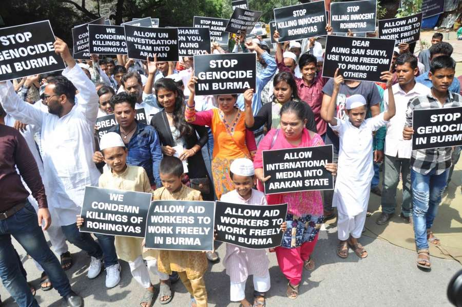 New Delhi: Immigrant Rohingya Muslims stage a demonstration at the Jantar Mantar against persecution of the community in Myanmar and demanded that the Indian government must intervene to save them, in New Delhi on Sept 5, 2017. (Photo: IANS) by .