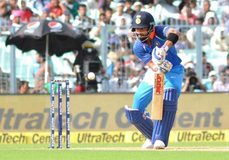 Kolkata: Indian skipper Virat Kohli in action during the second ODI cricket match between India and Australia at Eden Gardens in Kolkata on Sept 21, 2017. (Photo: Kuntal Chakrabarty/IANS) by .