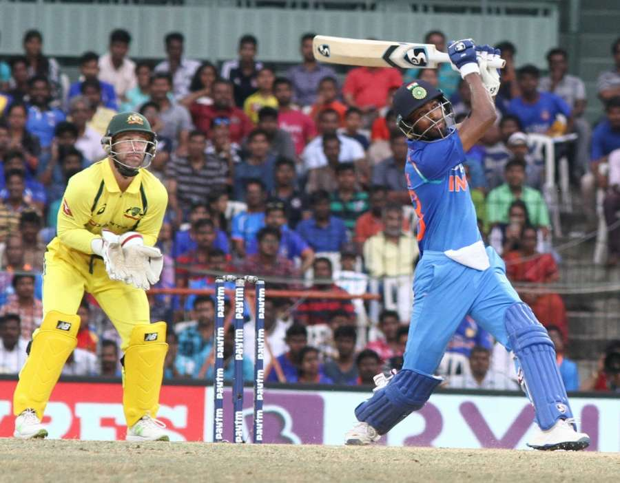 Chennai: India's Hardik Pandya in action during the first ODI cricket match between India and Australia at MA Chidambaram Stadium in Chennai on Sept 17, 2017. (Photo: IANS) by .