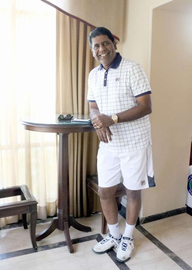 "New Delhi: Former tennis player Vijay Amritraj during a press conference regarding ""Wimbledon Masters under-14"" in New Delhi on April 10, 2017. (Photo: IANS) by ."