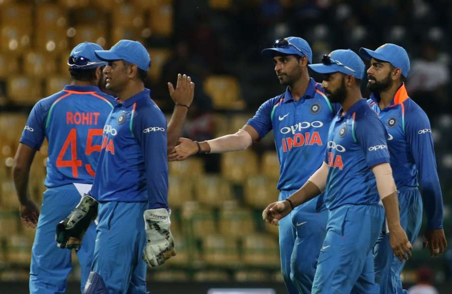 Colombo: Indian players leave the field after the end of Sri Lankan innings during the fifth ODI match between India and Sri Lanka at R.Premadasa Stadium in Colombo, Sri Lanka on Sept 3, 2017. (Photo: Surjeet Yadav/IANS) by .