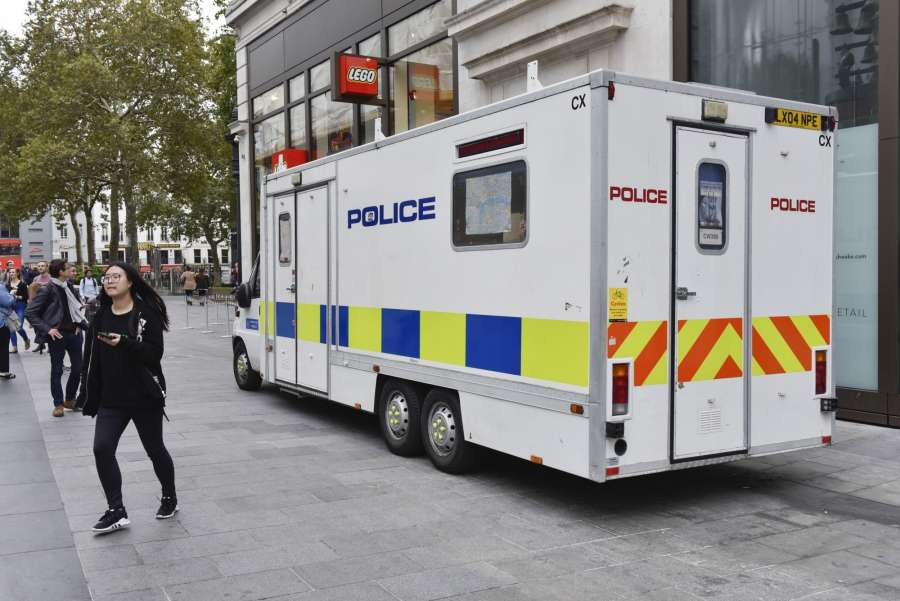 LONDON, Sept. 16, 2017 (Xinhua) -- A police vehicle patrols on a street in London, Britain on Sept. 16, 2017. British Prime Minister Theresa May said Friday that the terror threat level is raised to critical, which means a further terrorist attack in Britain may be imminent. (Xinhua/Stephen Chung/IANS) by .