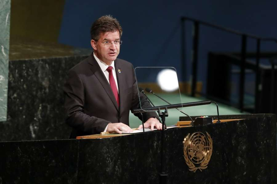 UNITED NATIONS, Sept. 25, 2017 (Xinhua) -- Miroslav Lajcak, President of the 72nd United Nations General Assembly, delivers closing remarks on the last day of the General Debate of the 72nd United Nations General Assembly at the UN headquarters in New York, Sept. 25, 2017. The VIP session of the United Nations General Assembly (UNGA) for 2017 concluded here on Monday, after all 196 representatives spoke at the marble podium in the past week. (Xinhua/Li Muzi/IANS) by .