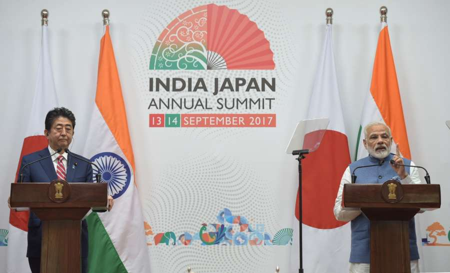 Gandhinagar: Prime Minister Narendra Modi and Japanese Prime Minister Shinzo Abe at the joint press statement during 12th India Japan Annual Summit at Mahatma Mandir in Gandhinagar on Sept 14, 2017. (Photo: IANS/PIB) by .