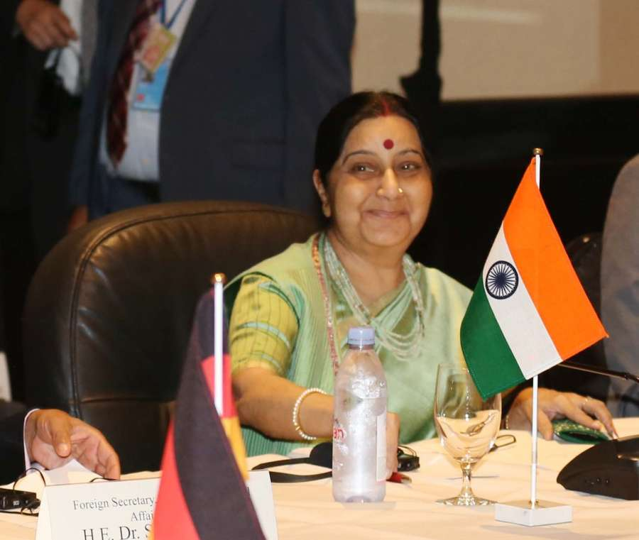 External Affairs Minister Sushma Swaraj meeting foreign ministers of G4 countries - Brazil, Germany and Japan in New York on Sept. 20, 2017. (Photo: Mohammed Jaffer/IANS) by .