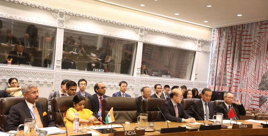New York: External Affairs Minister Sushma Swaraj attends a meeting of BRICS leaders on the sidelines of the United Nations General Assembly in New York on Sept 21, 2017. (Photo: ​Mohammed Jaffer​/​​IANS) by .