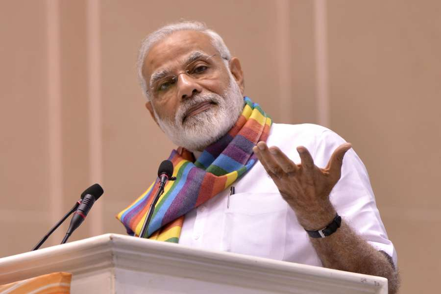 New Delhi: Prime Minister Narendra Modi addresses at Sahkar Sammelan on the occasion of Laxmanrao Inamdar's birth centenary in New Delhi on Sept 21, 2017. (Photo: IANS) by .