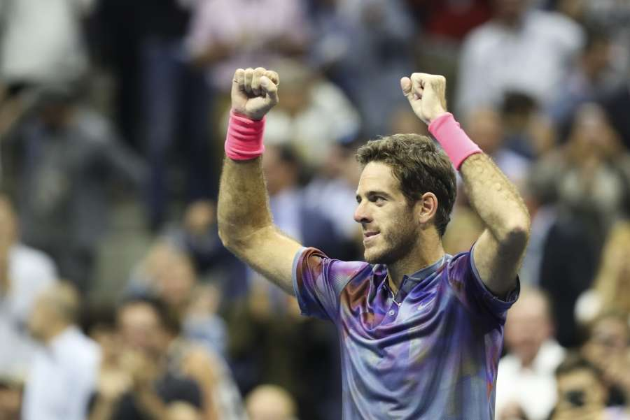 EW YORK, Sept. 7, 2017 (Xinhua) -- Juan Martin del Potro of Argentina celebrates after winning the quarterfinal match of the Men's Singles of the 2017 US Open tennis tournament against Roger Federer of Switzerland in New York, the United States, Sept. 6, 2017. Juan Martin del Potro won 3-1. (Xinhua/Wang Ying/IANS) by .