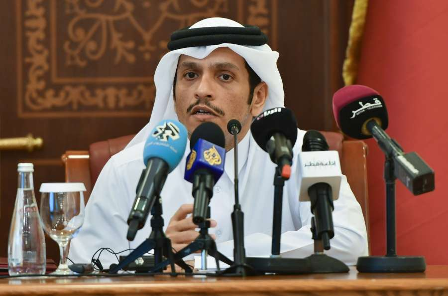 DOHA, Aug. 30, 2017 (Xinhua) -- Qatari Foreign Minister Sheikh Mohamed bin Abdulrahman Al-Thani attends a joint press conference with Russian Foreign Minister Sergey Lavrov (not in the picture) after their meeting in Doha, capital of Qatar, Aug. 30, 2017. (Xinhua/Nikku/IANS) by .