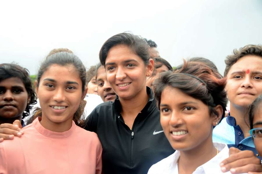 Mumbai: Indian women cricketer Poonam Raut along with teammates Harmanpreet Kaur and Nuzhat Parween during the launch of her cricket academy at Poisar Gymkhana, Kandivali in Mumbai on Sept 16, 2017. (Photo: IANS) by .